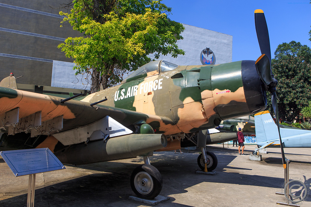 A military plane on display at the War Remnants Museum in Saigon, Vietnam