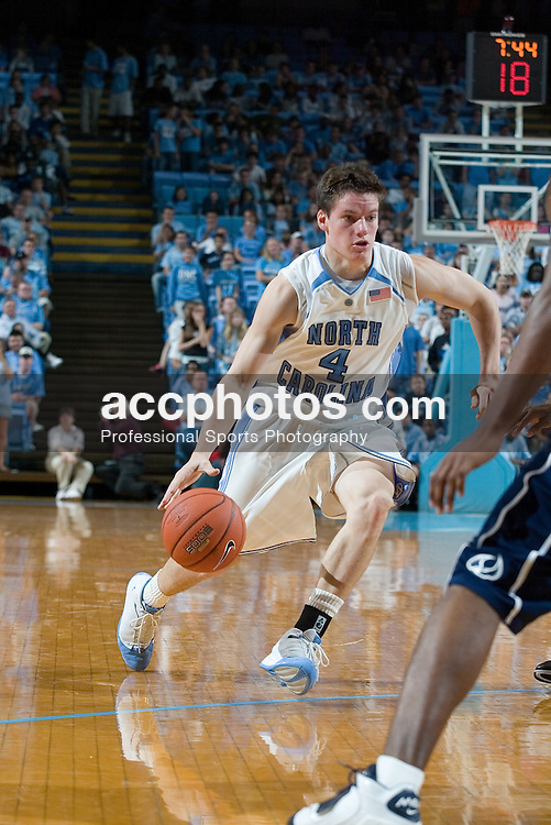 01 November 2006: North Carolina Tar Heels guard (4) Bobby Frasor in a North Carolina Tar Heels 110-79 victory over the Saint Augustine's Falcons at the Dean Smith Center in Chapel Hill, NC.<br />