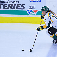 1st year forward Lilla Carpenter-Boesch (17) of the Regina Cougars in action during the Women's Hockey Home Game on November 26 at Co-operators arena. Credit: Arthur Ward/Arthur Images