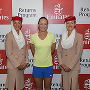 August 19, 2014, New Haven, CT:<br /> Samantha Stosur poses for a photograph during the Emirates Airline tennis clinic on day five of the 2014 Connecticut Open at the Yale University Tennis Center in New Haven, Connecticut Tuesday, August 19, 2014.<br /> (Photo by Billie Weiss/Connecticut Open)