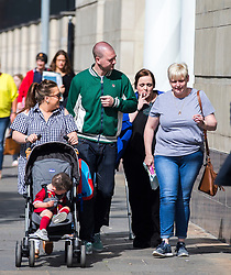 Christine Connor (second right) walking to Laganside Courts, Belfast accompanied by unknown people where she is due to be sentenced after she posed as a Swedish model to entrap two men into taking part in her bid to murder police officers.