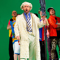 Picture shows : Adrian Powter as Taddeo...Picture  ©  Drew Farrell Tel : 07721 -735041..A new Scottish Opera production of  Rossini's 'The Italian Girl in Algiers' opens at The Theatre Royal Glasgow on Wednesday 21st October 2009..(Soap) opera as you've never seen it before.Tonight on Algiers.....Colin McColl's cheeky take on Rossini's comic opera is a riot of bunny girls, beach balls, and small screen heroes with big screen egos. Set in a TV studio during the filming of popular Latino soap, Algiers, the show pits Rossini's typically playful and lyrical music against the shoreline shenanigans of cast and crew. You'd think the scandal would be confined to the outrageous storylines, but there's as much action off set as there is on.... .Italian bass Tiziano Bracci makes his UK debut in the role of Mustafa. Scottish mezzo-soprano Karen Cargill, who the Guardian called a 'bright star' for her performance as Rosina in Scottish Opera's 2007 production of The Barber of Seville, sings Isabella. .Cast .Mustafa...Tiziano Bracci.Isabella..Karen Cargill.Lindoro...Thomas Walker.Elvira...Mary O'Sullivan.Zulma...Julia Riley.Haly...Paul Carey Jones.Taddeo...Adrian Powter. .Conductors.Wyn Davies.Derek Clarke (Nov 14). .Director by Colin McColl.Set and Lighting Designer by Tony Rabbit.Costume Designer by Nic Smillie..New co-production with New Zealand Opera.Production supported by.The Scottish Opera Syndicate.Sung in Italian with English supertitles..Performances.Theatre Royal, Glasgow - October 21, 25,29,31..Eden Court, Inverness - November 7. .His Majesty's Theatre, Aberdeen  - November 14..Festival Theatre,Edinburgh - November 21, 25, 27 ...Note to Editors:  This image is free to be used editorially in the promotion of Scottish Opera. Without prejudice ALL other licences without prior consent will be deemed a breach of copyright under the 1988. Copyright Design and Patents Act  and will be subject to payment or legal action, where appropriate..Further further information please co