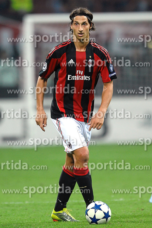 15.09.2010, Stadio Giuseppe Meazza, Mailand, ITA, UEFA CL, AC Milan vs Auxerre, im Bild Zlatan IBRAHIMOVIC Milan.EXPA Pictures © 2010, PhotoCredit: EXPA/ InsideFoto/ Andrea Staccioli +++++ ATTENTION - FOR AUSTRIA AND SLOVENIA CLIENT ONLY +++++... / SPORTIDA PHOTO AGENCY