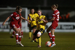 Katy Moran of Aston Villa Ladies challenges Megan Alexander midfielder/defender for Bristol City Women - Mandatory by-line: Robbie Stephenson/JMP - 02/01/2012 - FOOTBALL - Stoke Gifford Stadium - Bristol, England - Bristol City Women v Aston Villa Ladies - FA Women's Super League 2