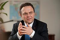 03 JAN 2011, BERLIN/GERMANY:<br /> Hans-Peter Friedrich, MdB, CSU, Vorsitzender der CSU Landesgruppe im Deutschen Bundestag, waehrend einem Interview, in seinem Buero, Jakob-Kaiser-Haus, Deutscher Bundestag<br /> IMAGE: 20110103-01-025
