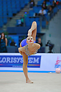 Nazarenkova Elizaveta of Uzbekistan competes during the Rhythmic Gymnastics Individual ball qulification of the World Cup at Adriatic Arena on April 1, 2016 in Pesaro, Italy. She  is a individual rhythmic gymnast of Russian origin born in  Murmansk in 1995.
