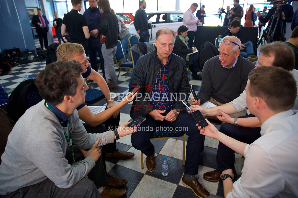 BRIDGEND, WALES - Tuesday, November 5, 2019: Wales Under-21 manager Paul Bodin speaks to the media at Nathaniel Cars in Bridgend ahead of the UEFA U21 EURO 2021 qualifying round game against Bosnia & Herzegovina. (Pic by David Rawcliffe/Propaganda)