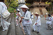 Pilgrims at the temple 23rd temple Hotsumisaki-ji (最御崎寺) in Muroto, Kochi Prefectur, Japan<br /> The Shikoku Pilgrimage, 88 temples associated with the Buddhist monk Kukai (Kobo Daishi) on the island of Shikoku in Japan.
