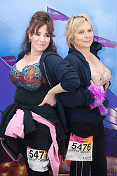 "© Licensed to London News Pictures. 12/05/2012. London, England. L-R: actress Harriet Thorpe and actress Jennifer Saunders. Members of Jen's Big Tits Team. The MoonWalk London 2012, Celebrating 15 years of Moon Walking for the breast cancer charity ""Walk the Walk"". Photo credit: Bettina Strenske/LNP"