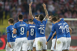 October 14, 2018 - Chorzow, Poland - Cristiano Biraghi of Italy celebrates scoring during the UEFA Nations League A match between Poland and Italy at Silesian Stadium in Chorzow, Poland on October 14, 2018  (Credit Image: © Andrew Surma/NurPhoto via ZUMA Press)
