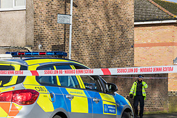 © Licensed to London News Pictures. 15/02/2018. London, UK. The police cordon on Goldwing Close, East London, where a 17-year-old boy was fatally stabbed. Police and London Ambulance Service attended but the victim was pronounced dead at the scene. A murder investigation has been launched. Photo credit: Rob Pinney/LNP