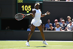 &copy; Licensed to London News Pictures. 02/07/2018. London, UK. Sloane Stepehens plays Donna Vekic in the Women&rsquo;s 1st round singles draw of the Wimbledon Tennis Championships 2018 <br /> . Photo credit: Ray Tang/LNP