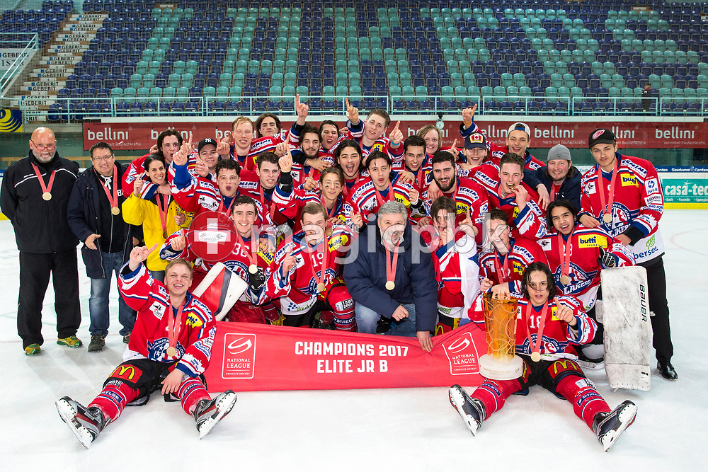 Team Rapperswil-Jona Lakers poses with the trophy after winning the fifth Elite B Playoff Final ice hockey game between Rapperswil-Jona Lakers and ZSC Lions held at the SGKB Arena in Rapperswil, Switzerland, Sunday, Mar. 19, 2017. (Photo by Patrick B. Kraemer / MAGICPBK)