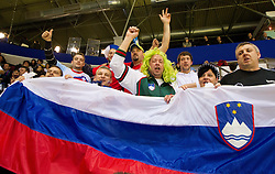 Slovenian fans during handball match between Iceland and Slovenia in  3rd Round of Preliminary Round of 10th EHF European Handball Championship Serbia 2012, on January 20, 2012 in Millennium Center, Vrsac, Serbia.  (Photo By Vid Ponikvar / Sportida.com)