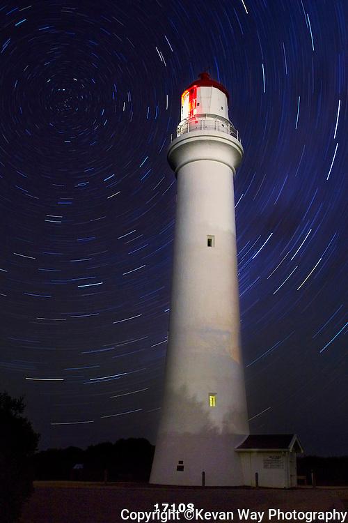 star trails at Split Point lighthouse