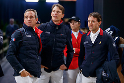 EPAILLARD Julien (FRA), STAUT Kevin (FRA), DELESTRE Simon (FRA)<br /> Paris - FEI World Cup Finals 2018<br /> Longines FEI World Cup Jumping Final I<br /> www.sportfotos-lafrentz.de/Stefan Lafrentz<br /> 12. April 2018