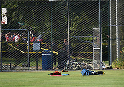 June 14, 2017  - Alexandria, Va, USA - The site of the gunshot exchange at Eugene Simpson Stadium Park in Alexandria, Virginia. Steve Scalise, a U.S. House Republican leader, was among possibly five people shot by a gunman Wednesday morning as he was playing a baseball game with other congressmen and aides. The suspect who opened fire in the baseball game practice field in Alexandria, Virginia, was in custody, said Alexandria police.  (Credit Image: © Yin Bogu/Xinhua via ZUMA Wire)
