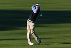 Feb 8, 2012; Pebble Beach CA, USA; Scott Langley hits his second shot on the first hole during the practice round of the AT&T Pebble Beach Pro-Am at Pebble Beach Golf Links. Mandatory Credit: Jason O. Watson-US PRESSWIRE