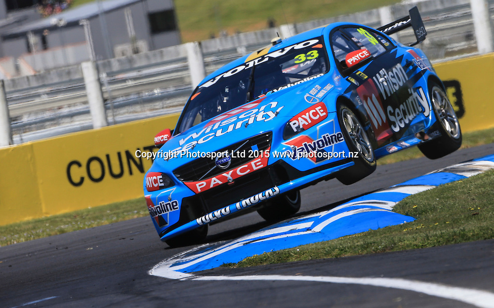 Scott McLaughlin in action. V8 Supercars, Pukekohe, Auckland, New Zealand. Saturday, 07 November 2015. Copyright photo: John Cowpland / www.photosport.nz