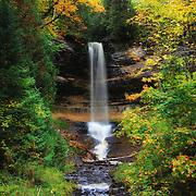 &quot;Munising Falls in October&quot;<br /> <br /> Beautiful Munising Falls during the month of October with fall foliage just beginning!