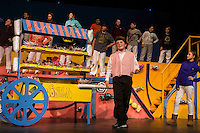 "The Candy Man Can (Bryce Cote) during dress rehearsal for Gilford Middle School's production of ""Willy Wonka""  Monday evening.   (Karen Bobotas/for the Laconia Daily Sun)"