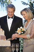Middle-aged couple cutting wedding cake, portrait