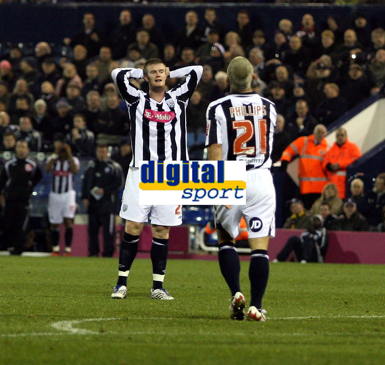 Photo: Mark Stephenson.<br /> West Bromwich Albion v Blackpool. Coca Cola Championship. 23/10/2007.West Brom's Kevin Phillips (NO 21 )  shoots wide of the goal as James Morrison looks on