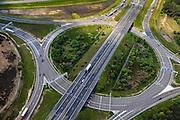 Nederland, Noord-Brabant, Eindhoven, 27-05-2013; Randweg Eindhoven. Knooppunt Leenderheide, verkeersknooppunt van A2 en A67.  Het oorspronkelijke verkeersplein, met stoplichten, maakt deel uit van het knooppunt.<br /> View on roundabout and traffic junction Leenderheide near Eindhoven, A67 connecting one of the main motorways of the Netherlands A2. luchtfoto (toeslag op standard tarieven);<br /> aerial photo (additional fee required);<br /> copyright foto/photo Siebe Swart.