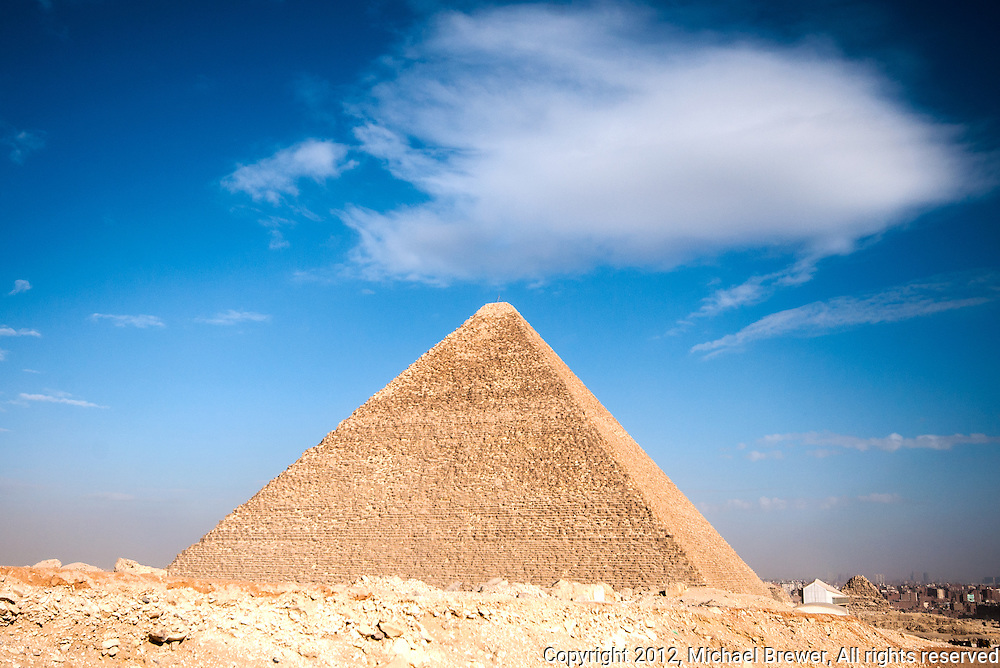 The Great Pyramid against a wonderful sky.  In Giza, Egypt.