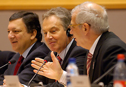 BRUSSELS, BELGIUM - DEC-20-2005 - Tony Blair , Prime Minister of Great Britain addresses members of the European Parliament about the accomplishments of the British European Council Presidency and the EU budget that was negotiated during the recent European Summit in Brussels. Blair is flanked by Jose Manuel Barroso President of the European Commission(left) and Josep Borrell President of the European Parliament (right). (PHOTO © JOCK FISTICK)