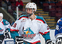 KELOWNA, CANADA - SEPTEMBER 3: Kelvin Hair #28 of Kelowna Rockets skates against the Victoria Royals on September 3, 2016 at Prospera Place in Kelowna, British Columbia, Canada.  (Photo by Marissa Baecker/Shoot the Breeze)  *** Local Caption *** Kelvin Hair;