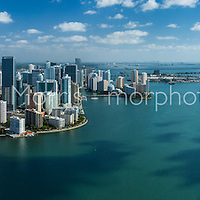 Aerial panorama view of Brickell and downtown Miami waterfront. This version is watermarked, contact us to license and clean version.