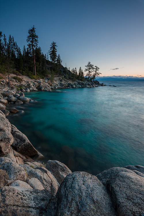 """Sunset at Lake Tahoe 24"" - These boulders and shoreline were photographed at sunset along Lake Tahoe's East shore, just North of Sand Harbor."