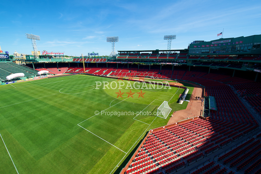 BOSTON, MA - Wednesday, July 25, 2012: Fenway Park, home of the Boston Red Sox, prepares to host a football match, the second match of the Reds' North American tour between Liverpool and AS Roma. (Pic by David Rawcliffe/Propaganda)