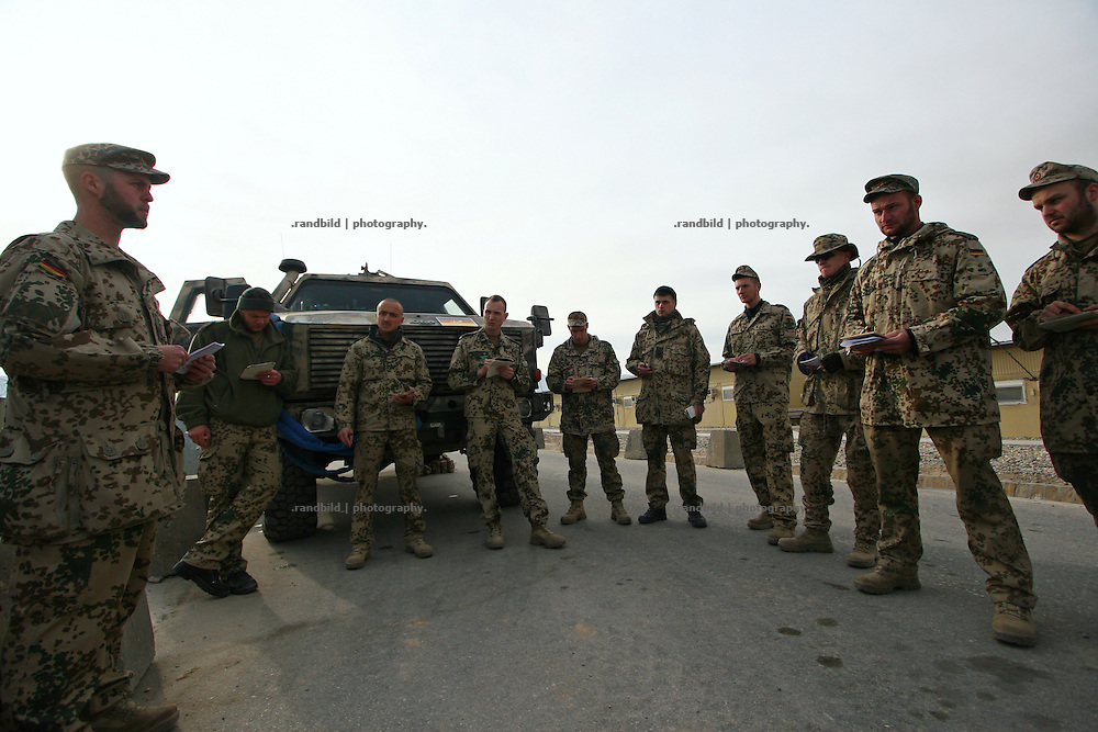 A german platoon of the Quick Reacion Force (QRF) gets an issue of orders in Camp Marmal before starting a patrol to the surroundings of afghan town Mazar-e Sharif.