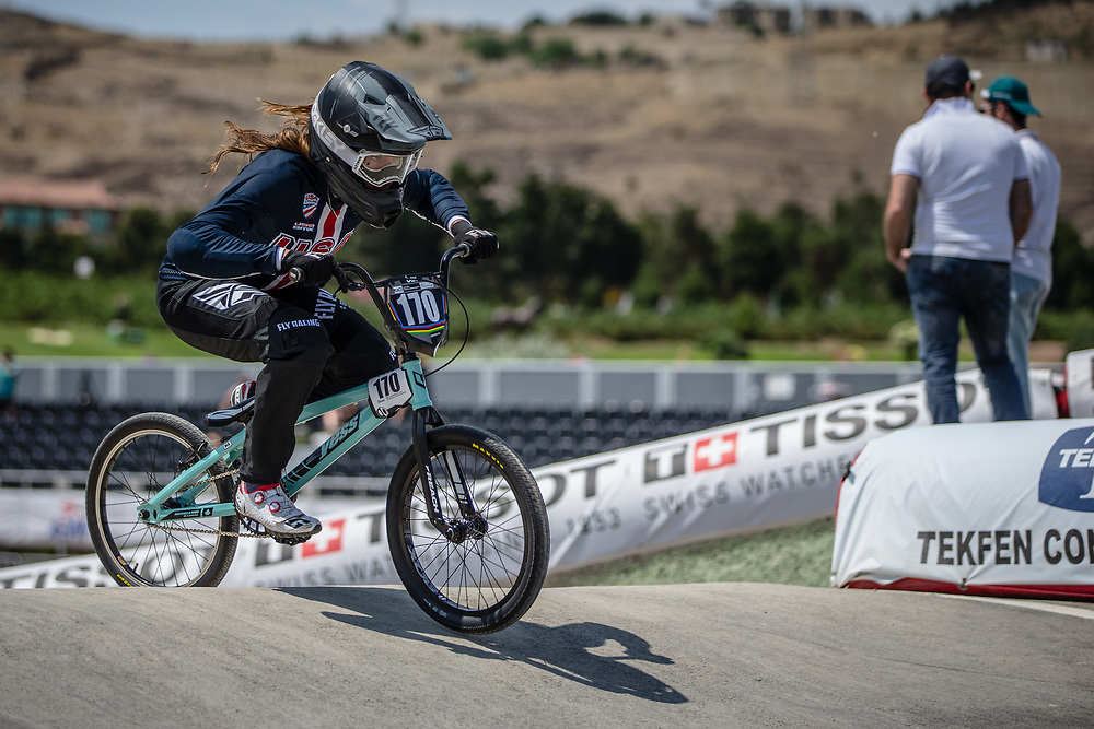 Women Junior #170 (DAWSON Dena) USA at the 2018 UCI BMX World Championships in Baku, Azerbaijan.