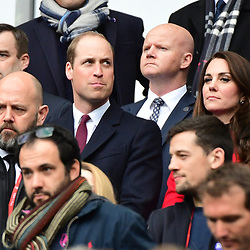 Prince William, Duke of Cambridge, with Catherine, Duchess of Cambridge (Kate Middleton) during the RBS Six Nations match between France and Wales at Stade de France on March 18, 2017 in Paris, France. (Photo by Dave Winter/Icon Sport)