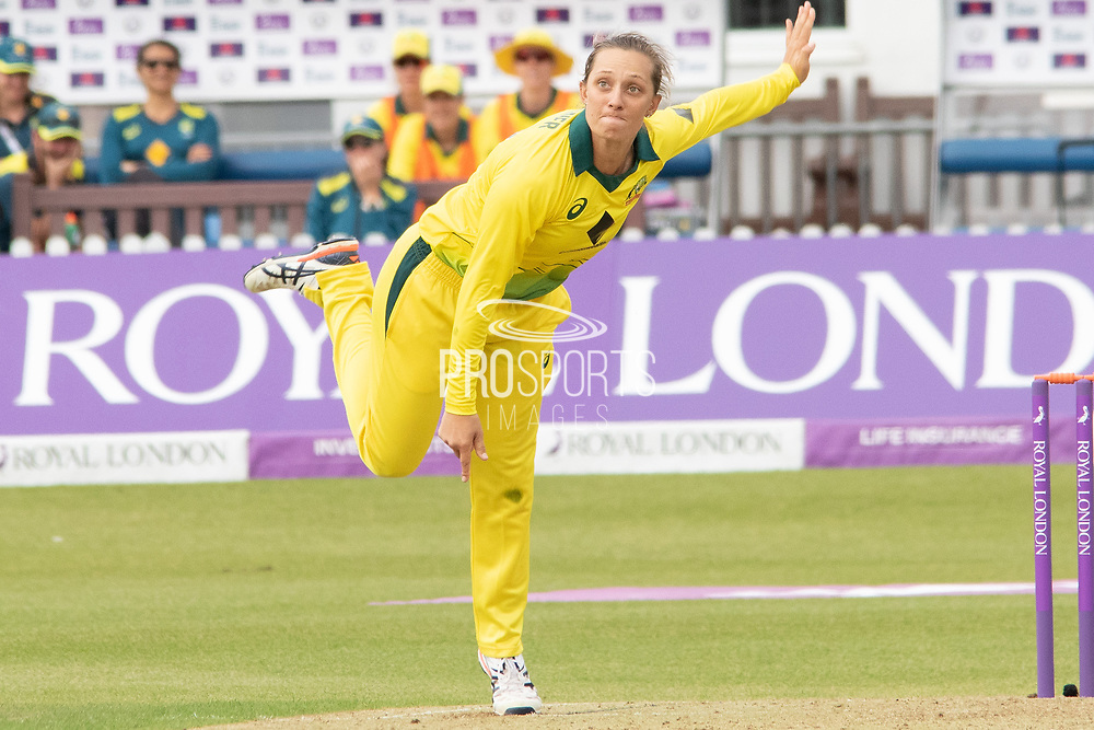 Jessica Jonassen bowling during the Royal London Women's One Day International match between England Women Cricket and Australia at the Fischer County Ground, Grace Road, Leicester, United Kingdom on 2 July 2019.