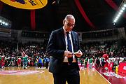 Attilio Caja<br /> Openjobmetis Varese - A X Armani Exchange Milano<br /> Openjobmetis Varese - <br /> Basket Serie A LBA 2018/2019<br /> Varese 03 April 2019<br /> Foto Mattia Ozbot / Ciamillo-Castoria
