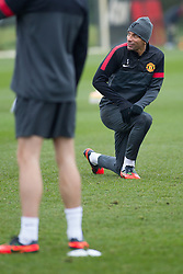© Licensed to London News Pictures . 06/11/2012 . Manchester , UK . Rio Ferdinand . Manchester United players train this morning (6th November 2012) at the club's training facility in Carrington , ahead of their Champions League match against SC Braga in Portugal tomorrow (7th November 2012) . Photo credit : Joel Goodman/LNP