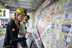 Alison Tetrick (USA) of Cylance Pro Cycling signs on for the Aviva Women's Tour 2016 - Stage 2. A 140.8 km road race from Atherstone to Stratford upon Avon, UK on June 16th 2016.