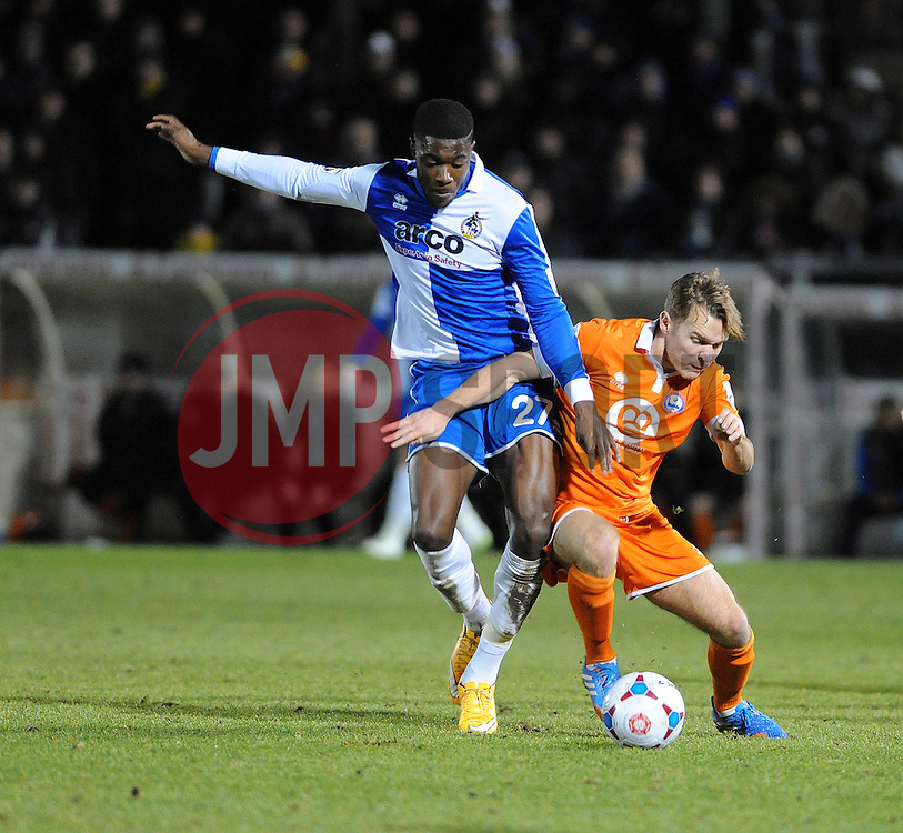 Bristol Rovers' Nathan Blissett  is challenged by Braintree Town's Chez Isaac - Photo mandatory by-line: Neil Brookman/JMP - Mobile: 07966 386802 - 24/02/2015 - SPORT - Football - Bristol - Memorial Stadium - Bristol Rovers v Braintree - Vanarama Football Conference
