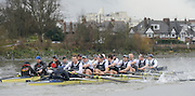 London. UNITED KINGDOM.  Oxford University BC vs German Crew. Varsity Fixture before the 159th BNY Mellon Boat Race on the Championship Course, River Thames, Putney/Mortlake.  Sunday  17/03/2013    [Mandatory Credit. Intersport Images], Oxford from Bow, Patrick Close, Geordie Macleod, Alex Davidson, Sam O'Connor, Paul Bennett, Karl Hudspith, Constantine Louloudis, Malcolm Howard and Cox Oskar Zorrilla. Germany from Bow, Toni Seifert 2012 M4-, Felix Wimberger 2012 U23 M8+, Maximilian Reinelt 2012 M8+, Felix Drahotta 2012 M2-, Anton Braun 2012 M2-, Kristof Wilke 2012 M8+, Richard Schmidt 2012 M8+, Eric Johannesen 2012 M8+ and Cox Martin Sauer 2012 M8+..Germany taking a slight lead and the crews clash