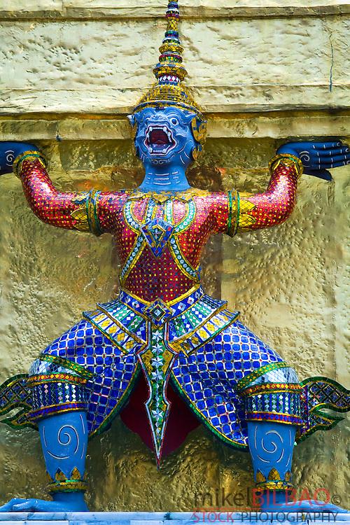 Ramakien giant. guardian statues. Wat Phra Kaew. Grand Palace. Bangkok, Thailand.