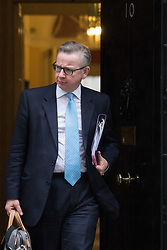 Downing Street, London, February 11th 2016. Justice Secretary Michael Gove leaves the weekly cabinet meeting. <br /> ©Paul Davey<br /> FOR LICENCING CONTACT: Paul Davey +44 (0) 7966 016 296 paul@pauldaveycreative.co.uk