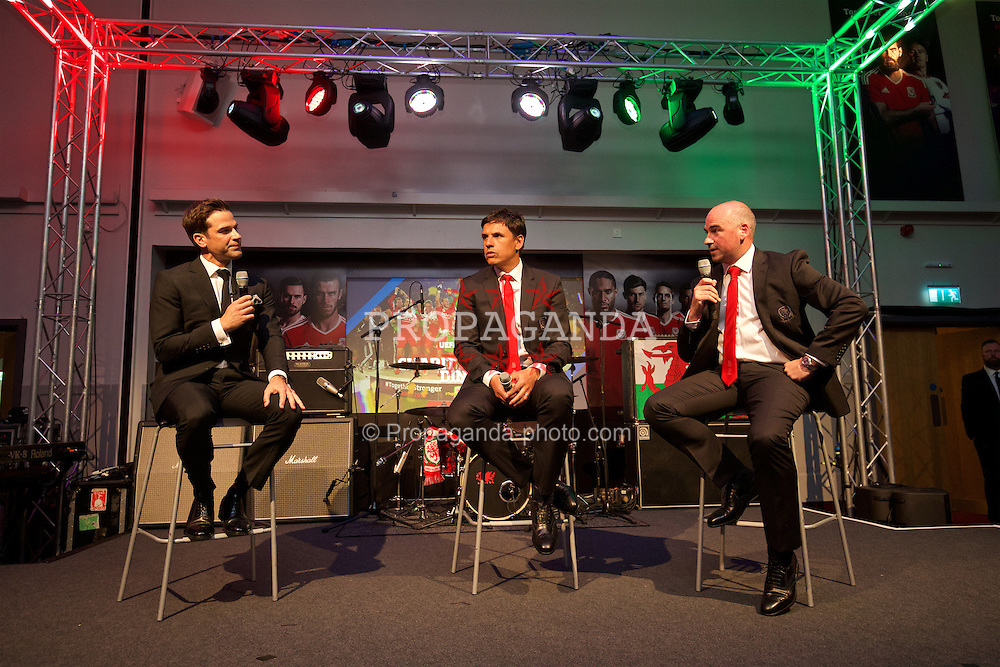 CARDIFF, WALES - Wednesday, June 1, 2016: Wales' manager Chris Coleman and performance psychologist Ian Mitchall with Gethin Jones during a charity send-off gala dinner at the Vale Resort Hotel ahead of the UEFA Euro 2016. (Pic by David Rawcliffe/Propaganda)