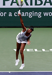 March 10, 2018 - Indian Wells, CA, U.S. - INDIAN WELLS, CA - MARCH 10: Venus Williams ( USA ) hits a serve during the second round of the BNP Paribas Open on March 10, 2018, at the Indian Wells Tennis Gardens in Indian Wells, CA. (Photo by Adam  Davis/Icon Sportswire) (Credit Image: © Adam Davis/Icon SMI via ZUMA Press)