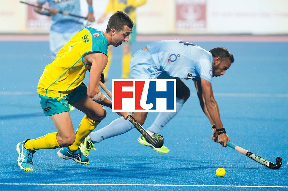 BHUBANESWAR - The Odisha Men's Hockey World League Final . Match ID 02. Australia v India. Lachlan Sharp (Aus) with Lalit Upadhyay (Ind)  .WORLDSPORTPICS COPYRIGHT  KOEN SUYK