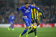 Cardiff City forwardr Nathaniel Mendez-Laing (19) on the ball during the Premier League match between Watford and Cardiff City at Vicarage Road, Watford, England on 15 December 2018.