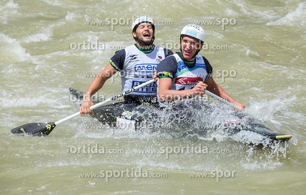 Luka Bozic (R) and Saso Taljat  of Slovenia in Final of Canoe Double C2 Men during ICF Canoe Slalom World Cup Tacen 2014 on June 15, 2014 in Ljubljana, Slovenia. Photo by Vid Ponikvar / Sportida